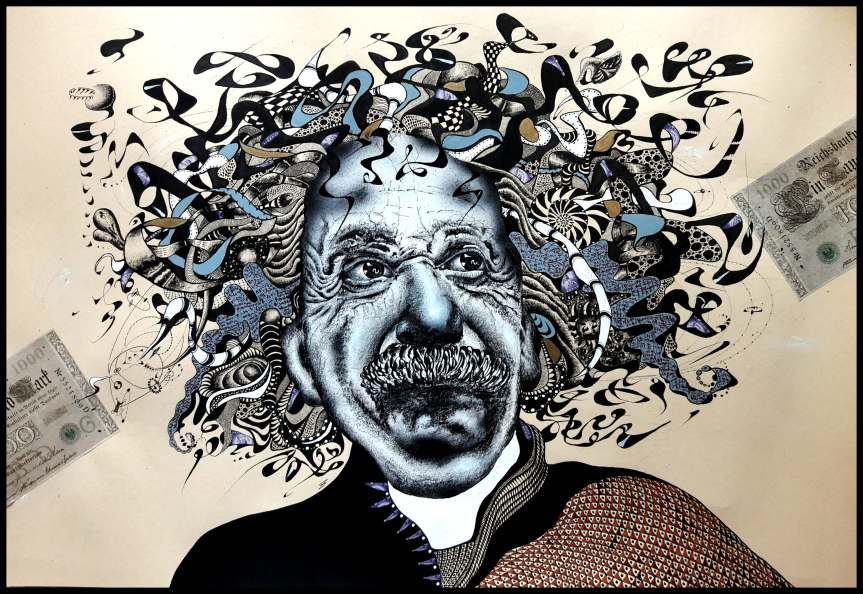 """Albert Einstein II."" Karikatur in Mischtechnik, Collage"